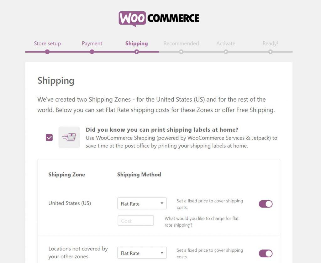Configuración de envío en WooCommerce.