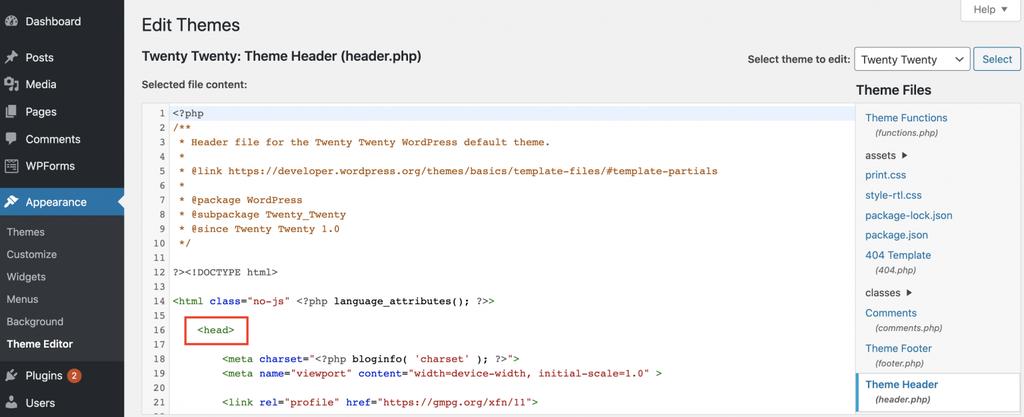 Editar el archivo header.php usando el Editor de temas de WordPress