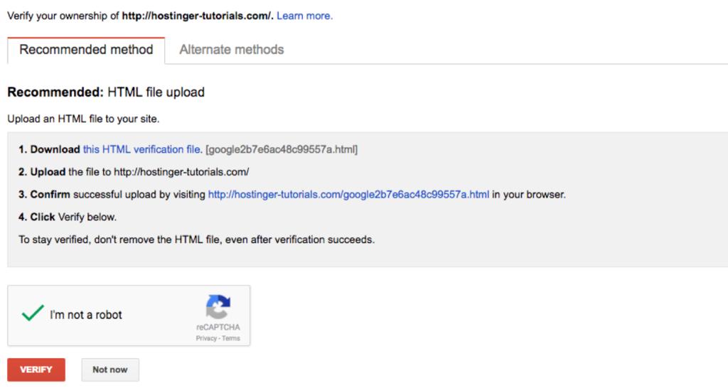 Métodos de verificación de un sitio web en Google Search Console