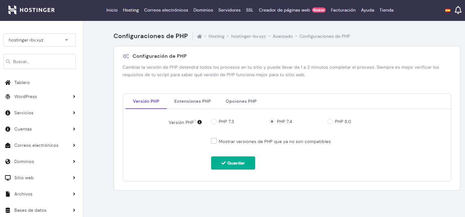 Actualizar versión de PHP en el hPanel