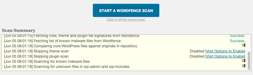 Iniciar un escaneo de wordfence en wordpress