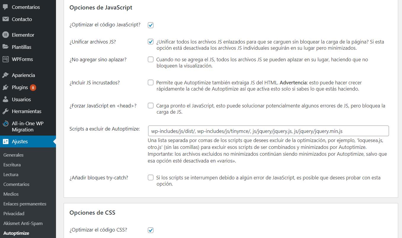 Optimizar JavaScript y CSS con el plugin Autoptomize