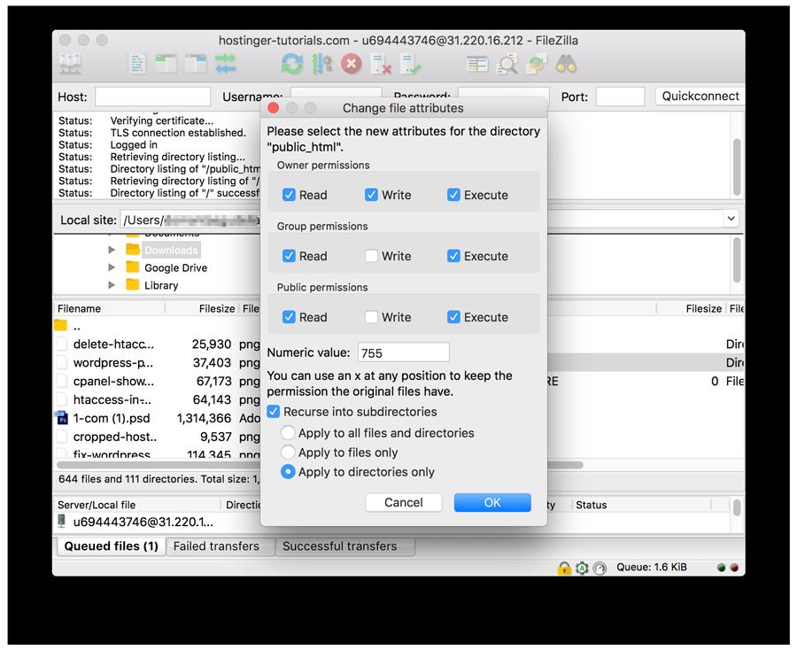 Cambiar los atributos de archivo