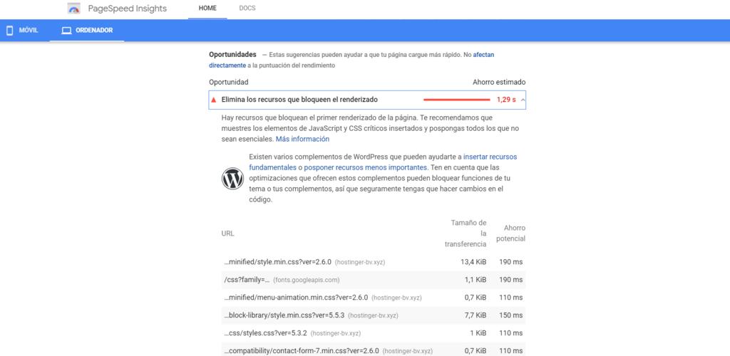 Eliminar el JavaScript que bloquea la visualización y el CSS en el contenido de la parte superior de la página