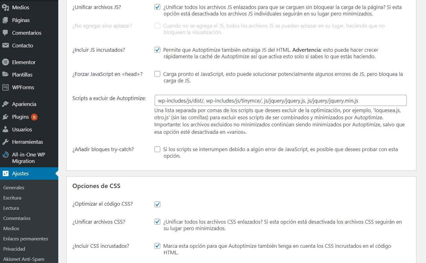 Opciones avanzadas para optimizar incluyendo CSS y JS incrustados