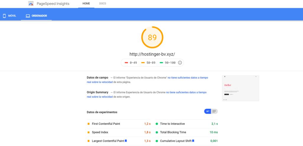 La puntuación de tu sitio web en PageSpeed de Google