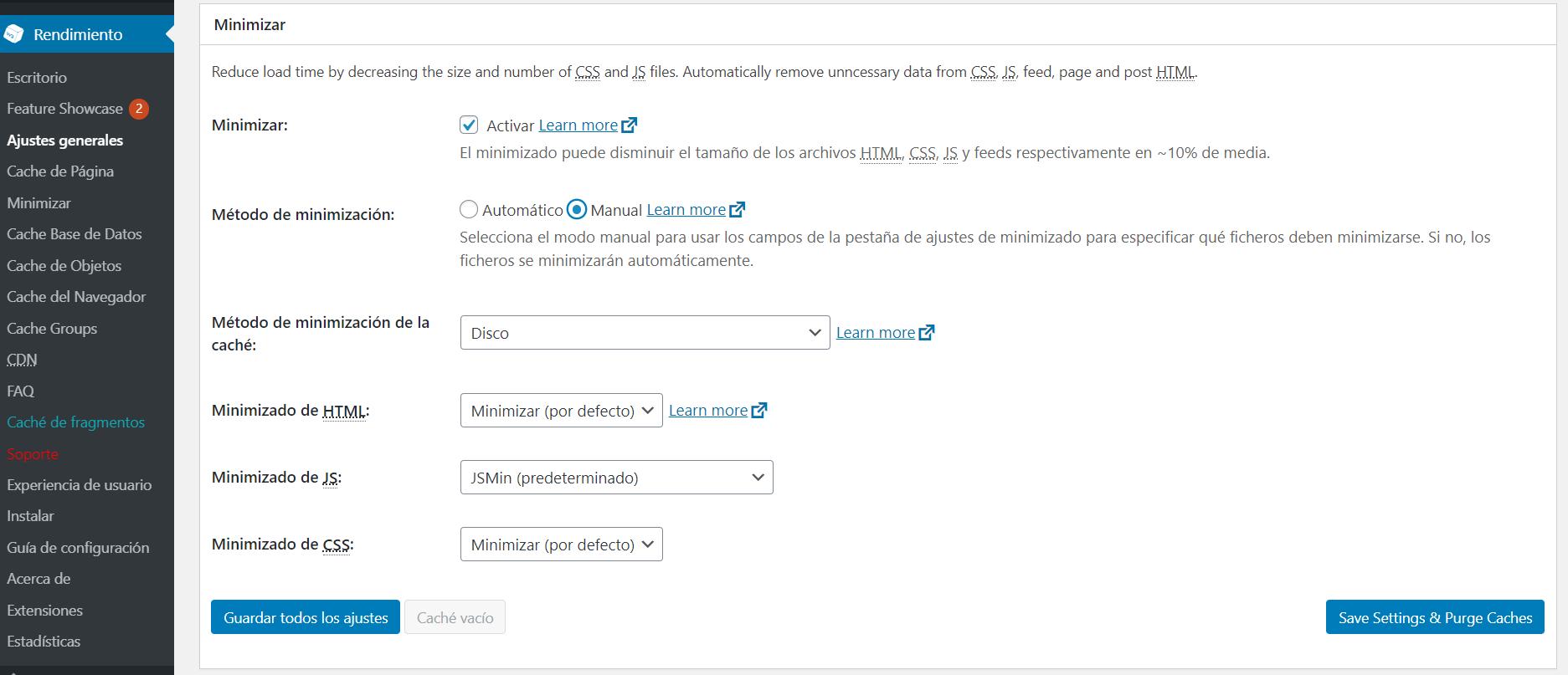 Minimizar recursos CSS y JavaScript con el plugin W3 Total Cache