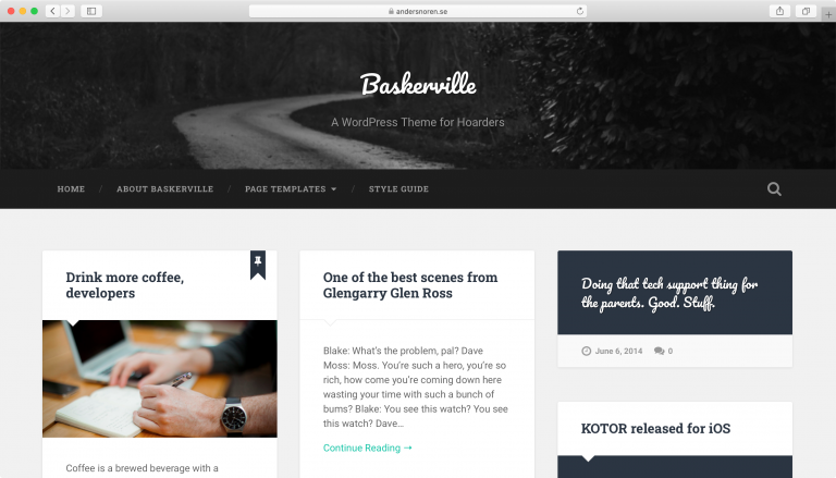 Tema Baskerville WordPress.