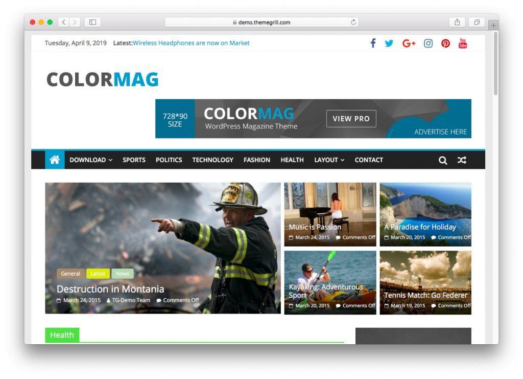 La página de demostración de ColorMag
