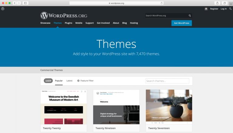 Navegando a través del directorio oficial de temas de WordPress.