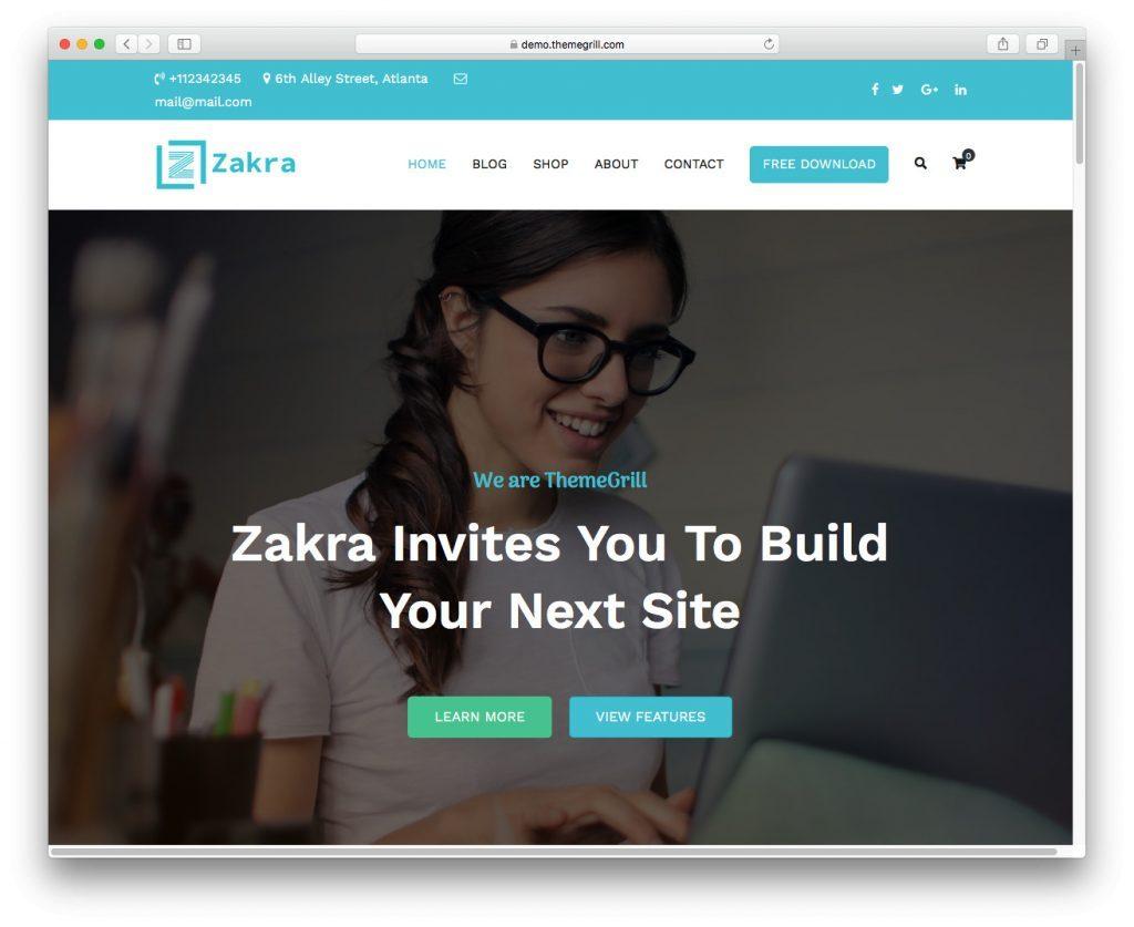 La demostración del tema Zakra WordPress
