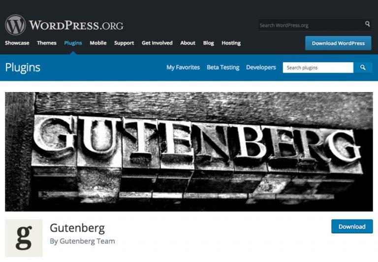 Gutenberg como complemento en el directorio de complementos de WordPress