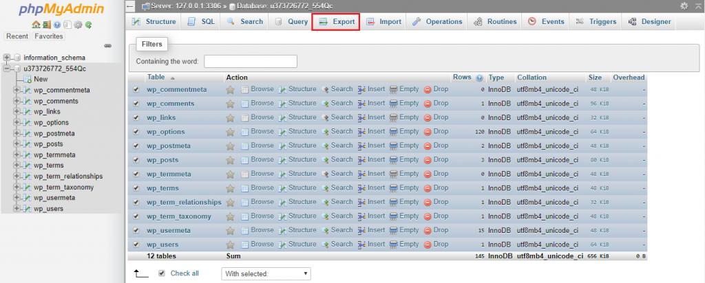 Esta imagen muestra cómo hacer una copia de seguridad de la base de datos de WordPress a través de phpMyAdmin