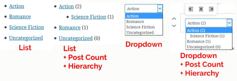 listas categorias