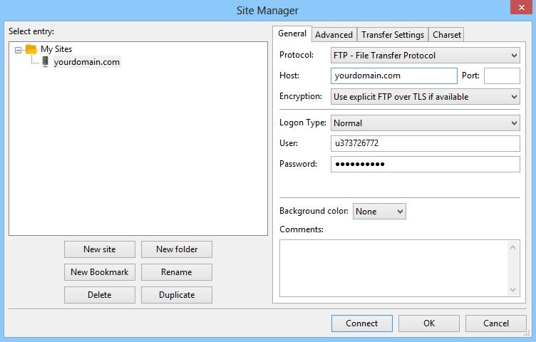Así es como configurar filezilla para conectarse con el servidor web de Hostinger.