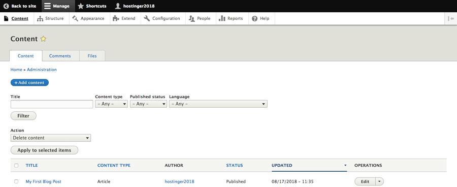 Creando una nueva publicación de blog en Drupal CMS