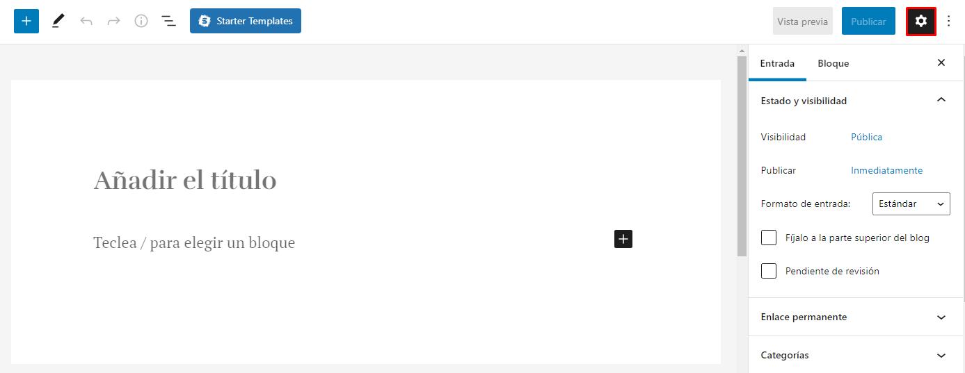 Icono de engranaje en las entradas de WordPress