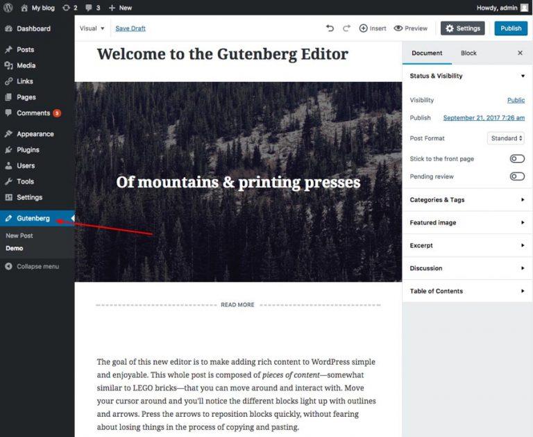 Página de demostración de Gutenberg
