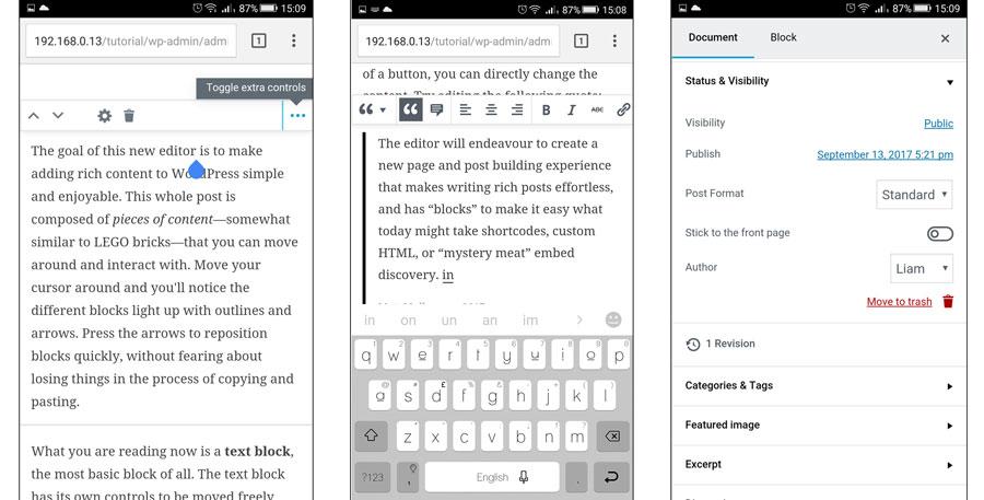 Vista del editor en dispositivos móviles