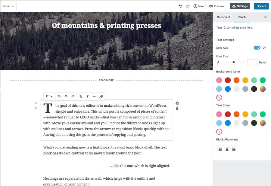 Creación de párrafo en nuevo editor Gutenberg