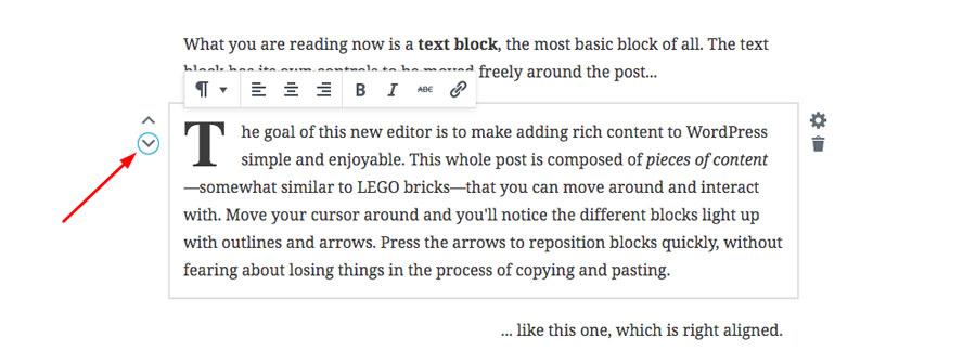 Mover y alinear bloques en Gutenberg