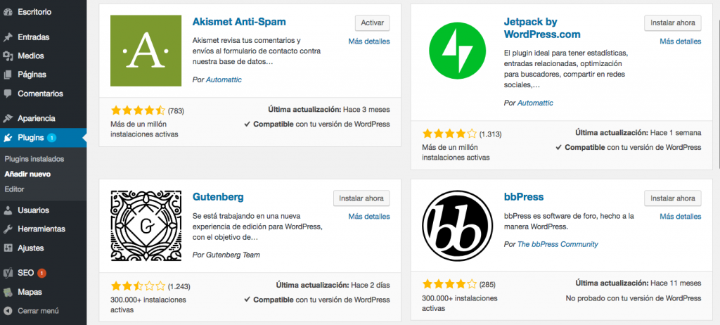 Directorio de plugins de WordPress