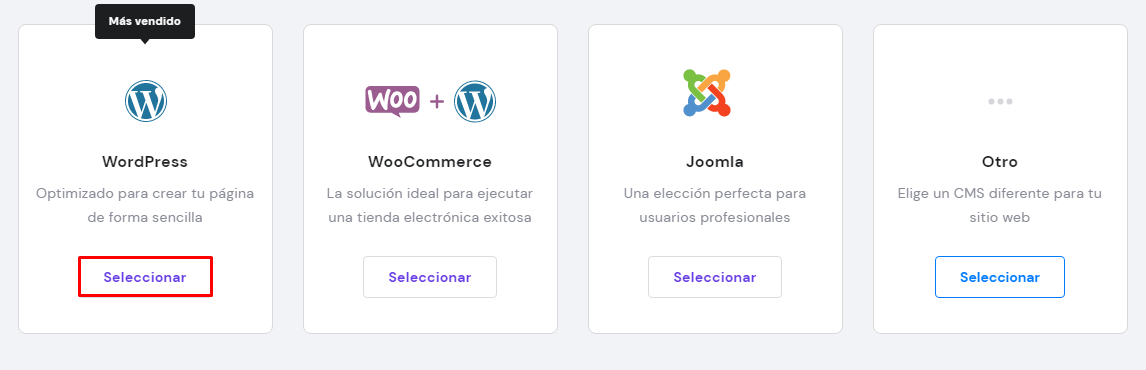 Seleccionar WordPress para instalar en el hPanel de Hostinger