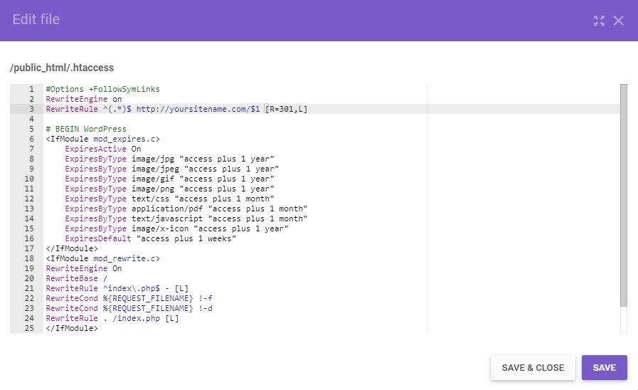 Editando el archivo .htacces usando un nuevo nombre de dominio