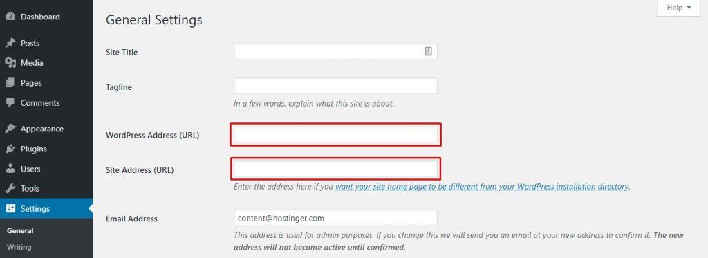 Actualización de la configuración general de WordPress