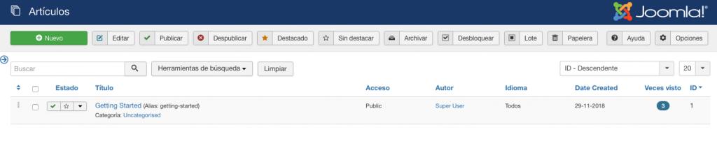Sección de gestión de artículos en el panel de control de Joomla.