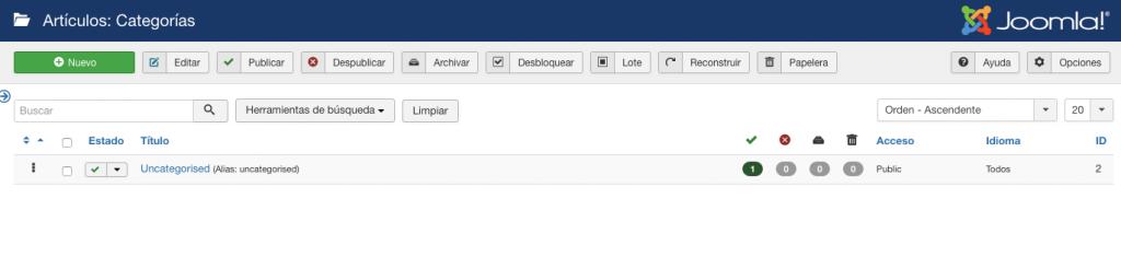 Sección de gestión de categorías en el panel de control de Joomla.