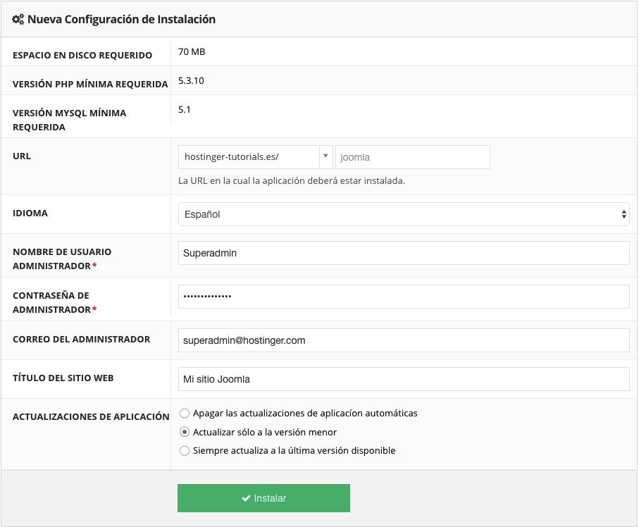 Procedura guidata di installazione di Joomla CMS