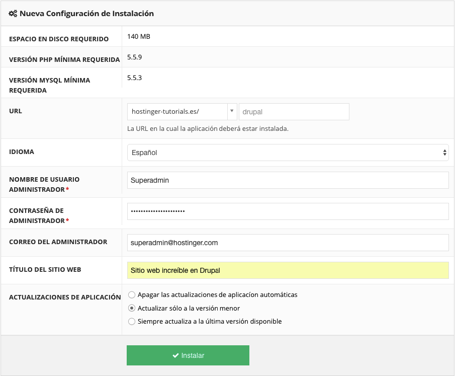 Procedura guidata di installazione di Drupal CMS