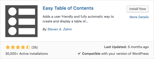 Plugin Easy Table of Contents