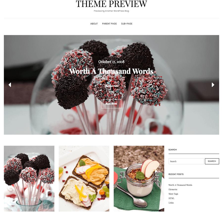 Ejemplo de un tema de WordPress de blog de comidas.