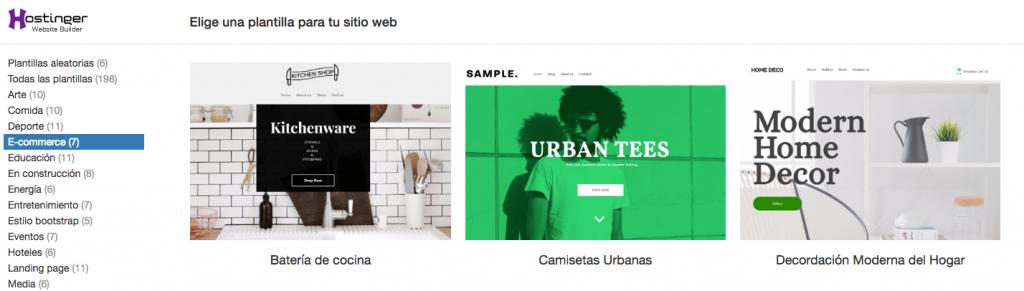 Elegir o importar una plantilla de sitio web