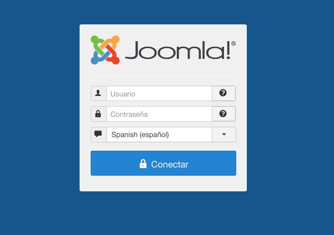 La schermata di accesso al pannello CMS di Joomla