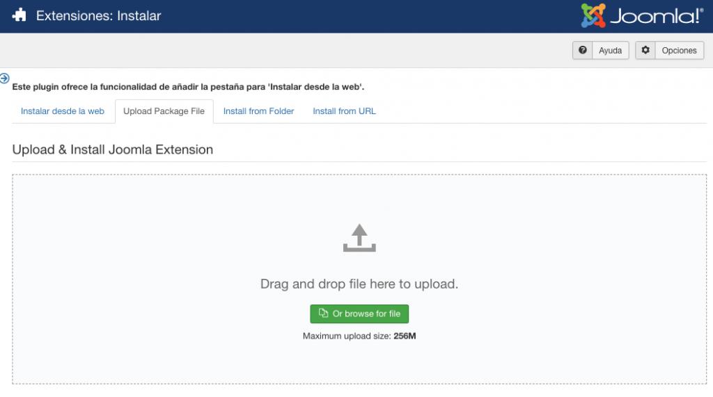 Instalar la extensiones de Joomla