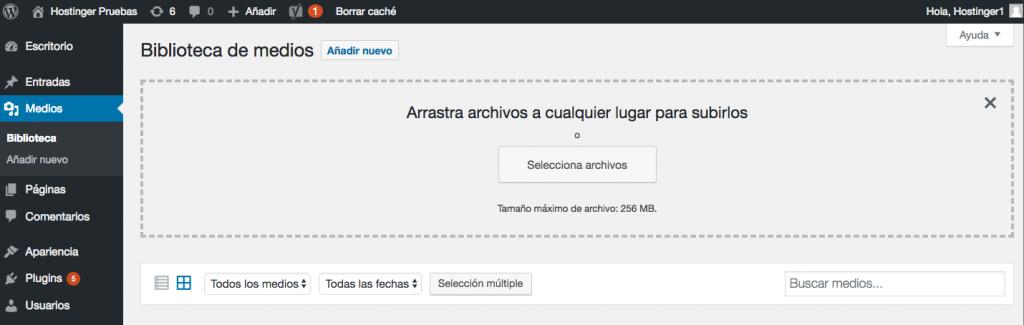 Cargar nuevos archivos multimedia a través del panel de WordPress