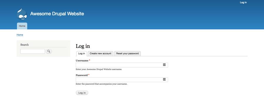 La schermata di login del back-end Drupal.