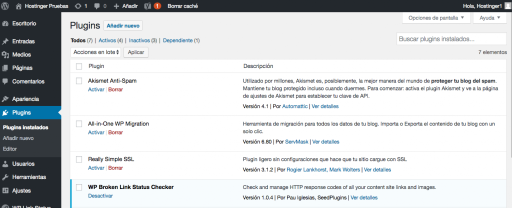 Comprobando plugins instalados en el panel de WordPress