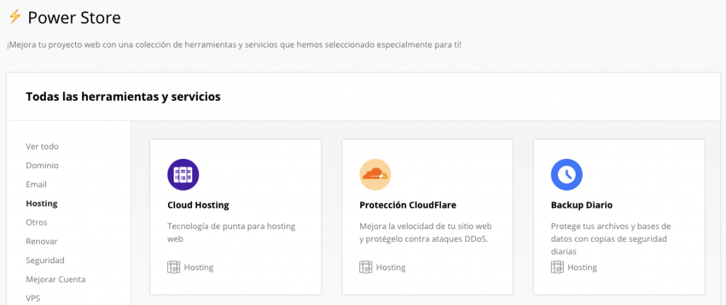 Módulo CloudFlare en Power Store de Hostinger