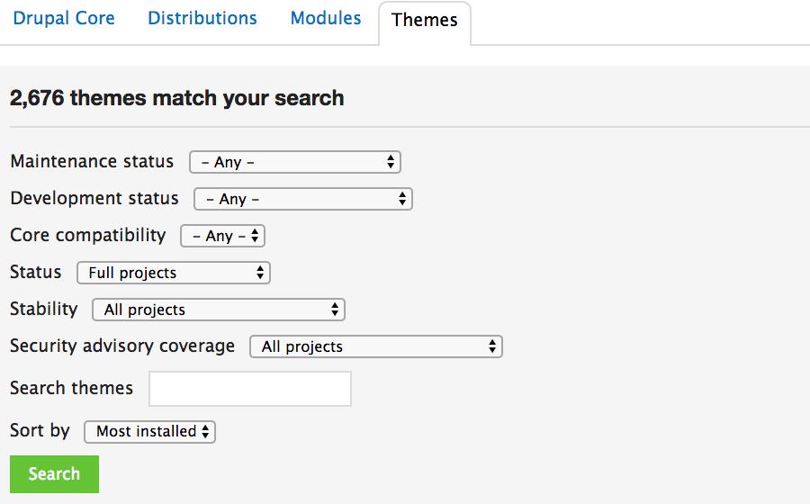Elegir el diseño de un sitio web en el repositorio oficial de temas de Drupal