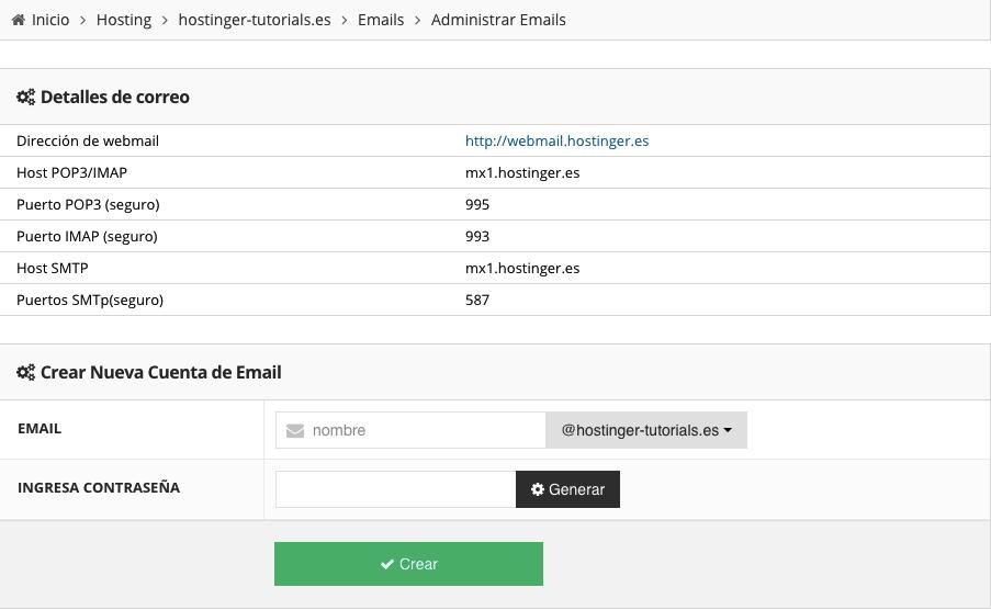 Cuentas de correo electrónico de Hostinger