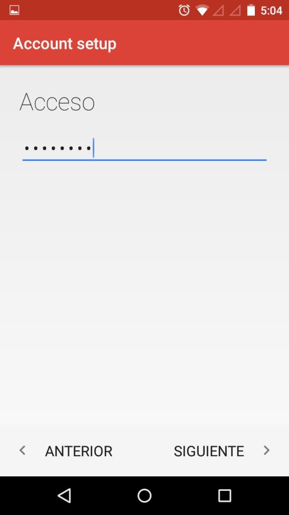 Escribir contraseña de email
