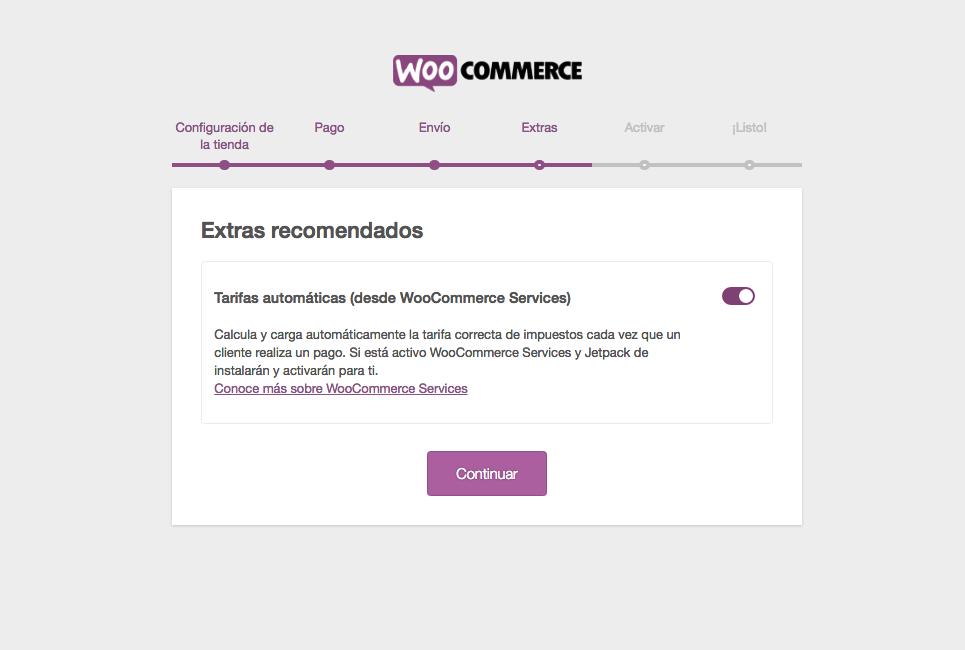 configuración extras woocommerce