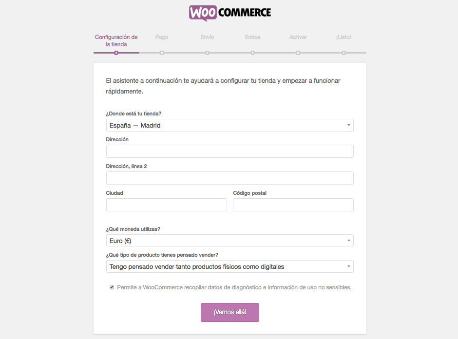configuración tienda woocommerce