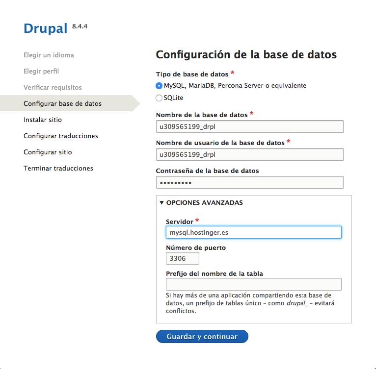 Instalación de Drupal Base de datos