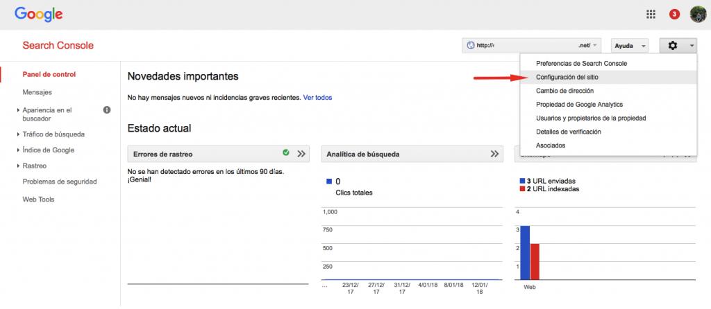 Configuración del sitio de Google Search Console